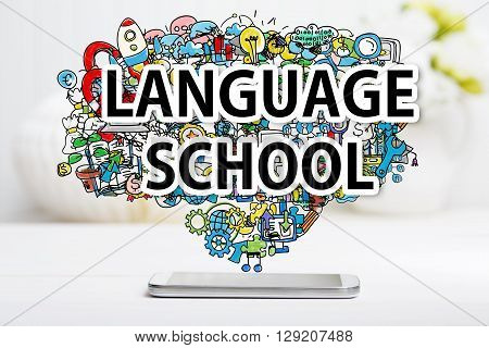 Language School Concept With Smartphone