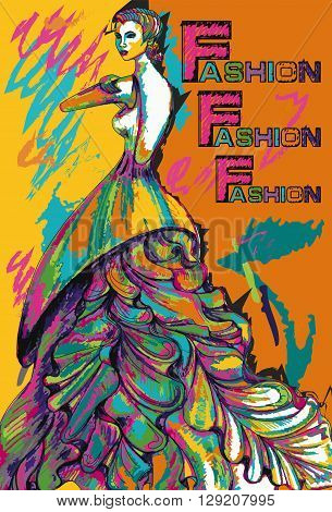 Colorful poster of fashion girl in a long dress. Vector art.
