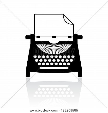 Type writer vector icon isolated on white background