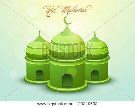 Glossy creative green Mosque on shiny background for Muslim Community Festival, Eid Mubarak celebration.