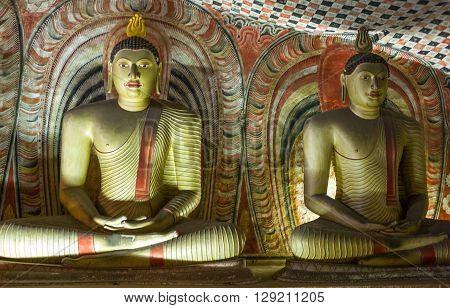 Danbulla Sri Lanka - December 5 2012: Buddah statues in the inside of the Rock Temple