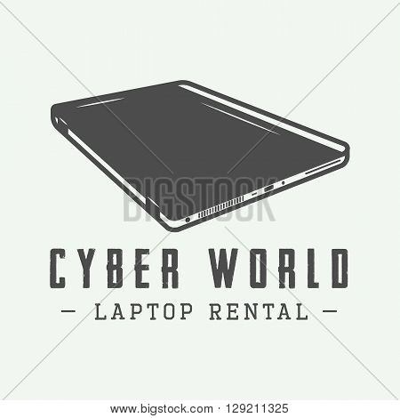 Vintage laptop. Can be used for logo badge emblem and much more. Vector Illustration