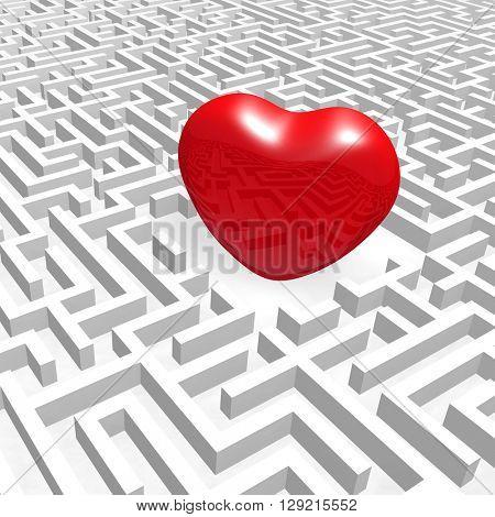 Red heart into labyrinth. (3D render illustration).