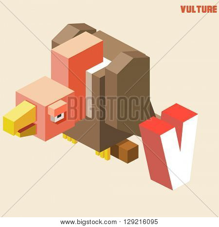 V for vulture. Animal Alphabet collection. vector illustration