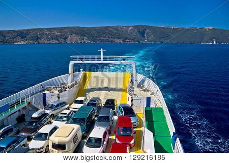 Ferry boat tourist line to island island of Cres Croatia