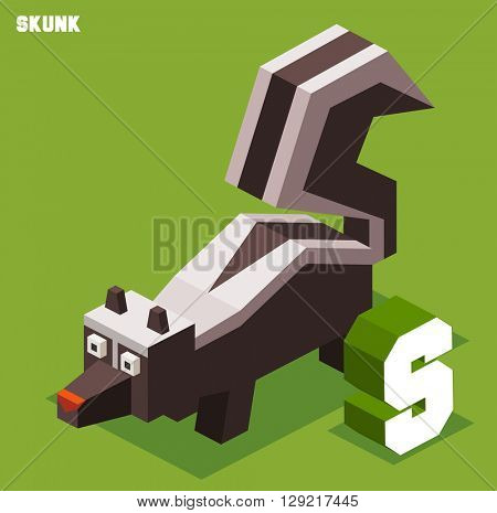 S for Skunk. Animal Alphabet collection. vector illustration