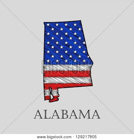 State Alabama in scribble style - vector illustration. Abstract flat map of Alabama with the imposition of US flag.