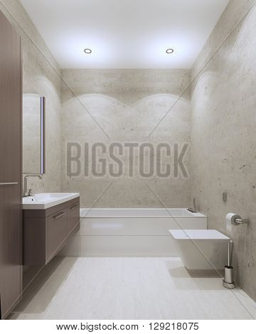 Bathroom contemporary style with textured plaster wall and ceiling lights furniture of medium taupe color. 3D render