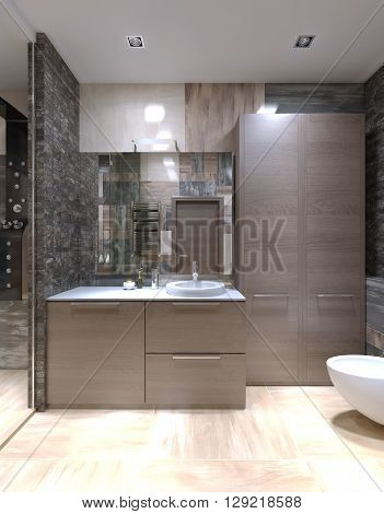 Light brown furniture in strange bathroom. High ceiling with halogen lamps mixed tile on walls and separated shower with glass door. 3D render