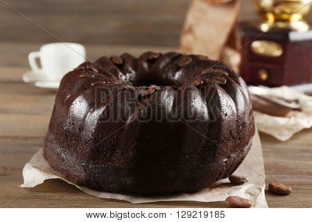 Chocolate muffin cake, on the table