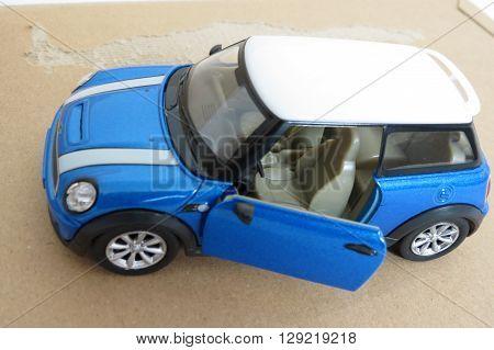 Light Blue Mini Cooper Car (2013 Version)