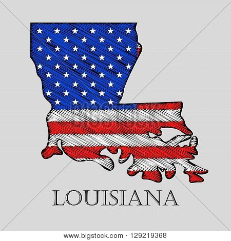 State Louisiana in scribble style - vector illustration. Abstract flat map of Louisiana with the imposition of US flag.