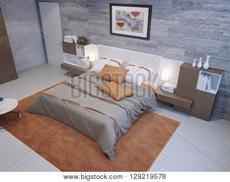 Spacious bedroom in grey and orange colors with masonry wallpaper and taupe furniture. 3D render