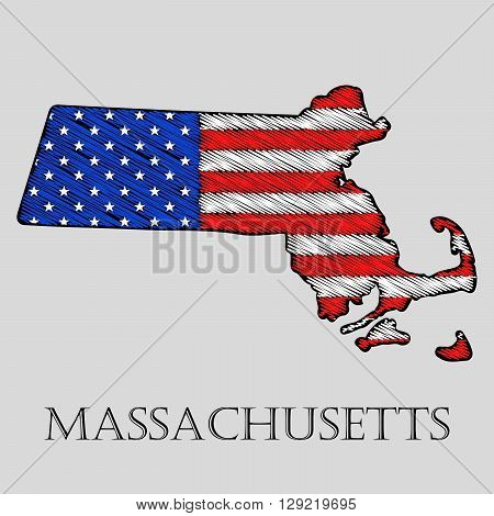 State Massachusetts in scribble style - vector illustration. Abstract flat map of Massachusetts with the imposition of US flag.