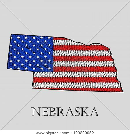 State Nebraska in scribble style - vector illustration. Abstract flat map of Nebraska with the imposition of US flag.