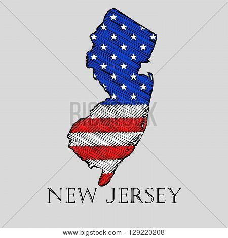 State New Jersey in scribble style - vector illustration. Abstract flat map of New Jersey with the imposition of US flag.