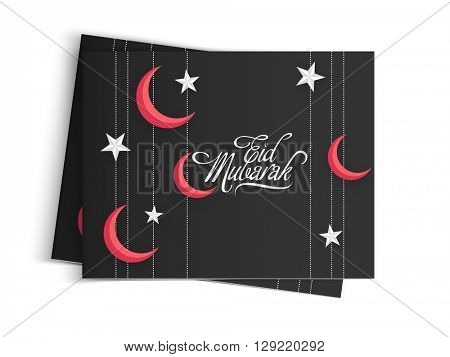 Red crescent Moon and white Stars decorated greeting card with envelope for Muslim Community Festival, Eid Mubarak celebration.