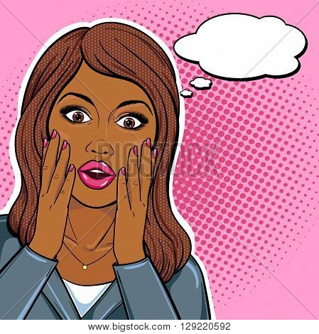 African american business woman shocked face with staring eyes and open mouth with speech bubble in pop art comic sketch style. Stressed african businesswoman portrait.