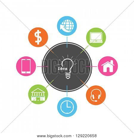 Creative infographic elements with different symbols for Business.