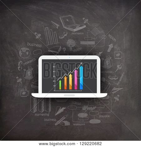 Creative infographic elements with colorful statistical bars on laptop screen for Business purpose.