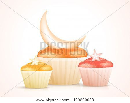 Sweet delicious Cupcakes with Glossy Crescent Moon and Stars, Concept for Muslim Community Festivals celebration.