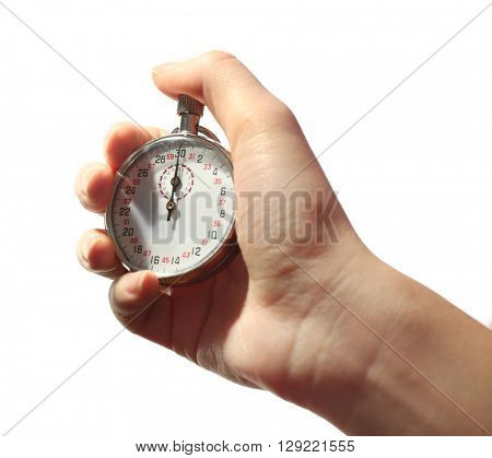 Stopwatch in hand isolated on white, close up