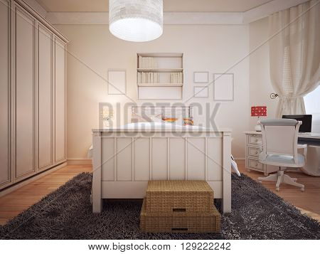 Bright bedchamber art deco style. 3D render