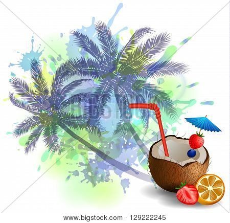 Exotic coconut cocktail isolated on aabstract inkblot background with palms