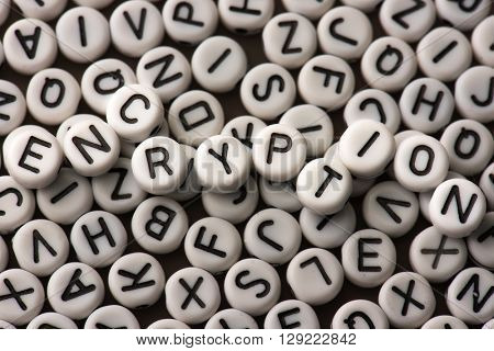 Encryption. Random alphabets with letters of