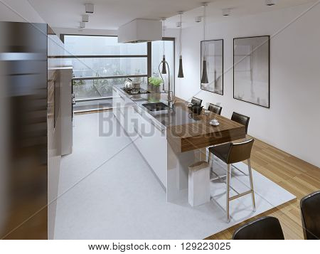Contemporary kitchen style. Interior bright spacious modern kitchen with a functional kitchen island bar. White walls. 3D render