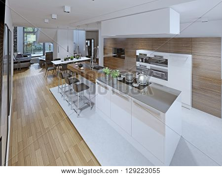 Loft kitchen with dining room. 3D render poster