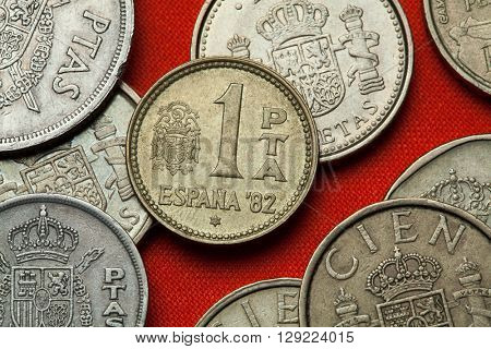 Coins of Spain. Coat of arms of Spain under the Spanish Transition depicted in the Spanish one peseta coin (1982).
