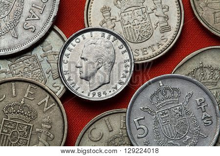 Coins of Spain. King Juan Carlos I of Spain depicted in the Spanish 10 peseta coin (1984).