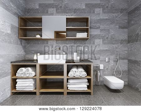 Bathroom contemporary style. Fashionable bathrooms: Current Trends. 3D render
