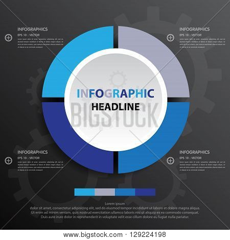 Business Infographics Circle Origami Style Vector Illustration.