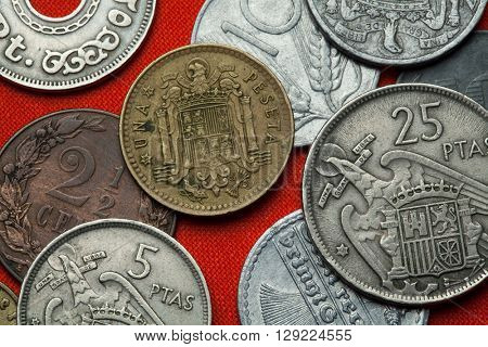 Coins of Spain under Franco. Coat of arms of Spain under Franco depicted in the Spanish one peseta coin (1966).