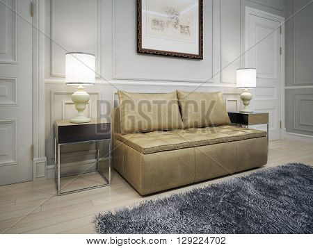 Design of avant-garde entrance. Brown leather sofa in front of the light grey molded wall with the picture.3D render