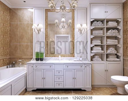 Furniture in classic bathroom. Cream colored bathroom with white furniture great mirror with sconces and luxurious chandelier. Pleasing to the eye contrast of two colors. 3D render
