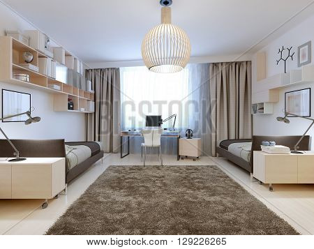 Bedroom for two tenagers contemporary style. Spacious youth room with computer desk and separated areas for life of two teenagers. 3D render