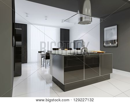 Kitchen modern style. Combined kitchen and dining room with black and white walls black furniture and white dining table. 3D render