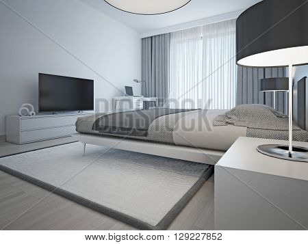 Contemporary monochrome hotel room. The laid elegant bed and furniture light gray color and elegant chrome lamps with black shades. 3D render