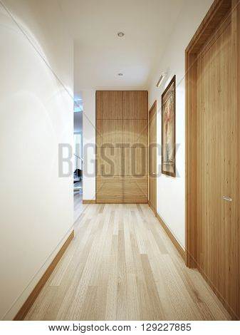 Long corridor contemporary style. White wall with a flat brown plinth. Wardrobe at the end of the corridor. 3D render