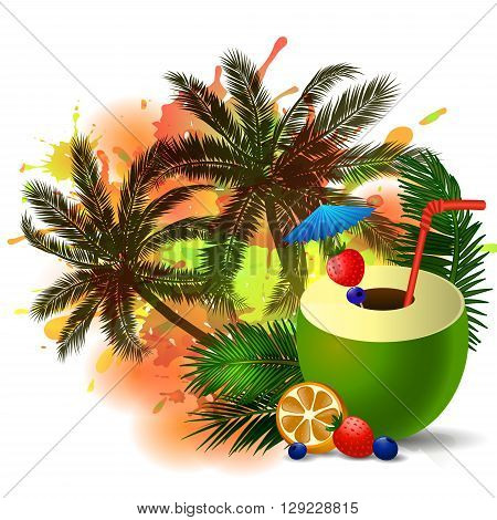 Exotic green coconut cocktail isolated on aabstract inkblot background with palms
