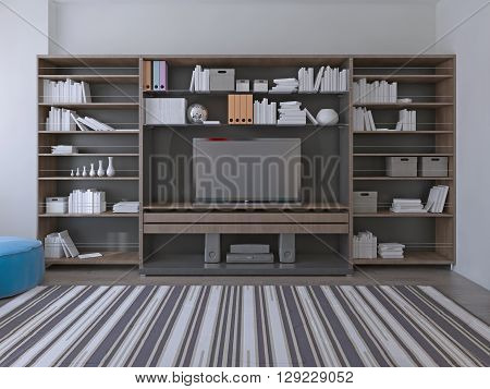 Modern wall system in spacy lounge made in pale brown and dark grey colors. 3D render
