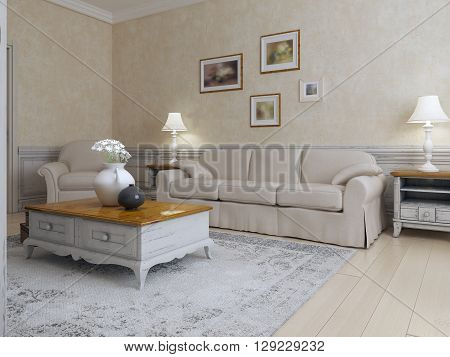 Living room mediterranean style in light cream and ecru colors. Bright interior daylight. Lamps in interior. 3D render