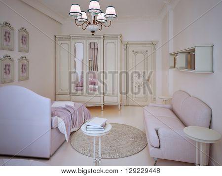 Classic teenager girl bedroom interior. Large wardrobe light pink bed and sofa ecru colored walls and linoleum flooring. 3D render