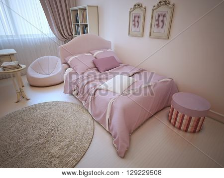 Bed in provence styled bedroom. Dressed bed with pillows and blanket light pink color in luxury child room with light tone walls linoleum and large round carpet. 3D render