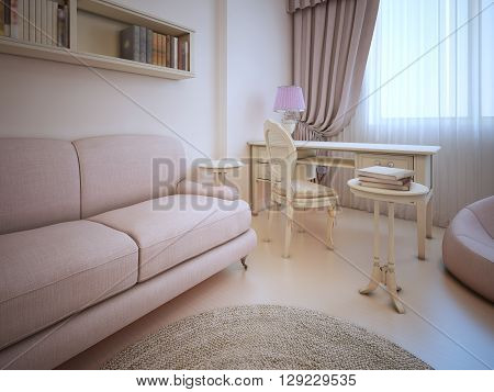 Elegant living shabby-chic style. Sofa and dressing table in room with cream walls ecru color linoleum flooring. Antique furniture. 3D render