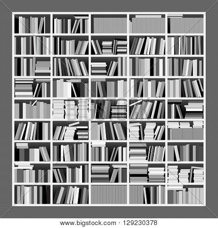 Big Bookshelf Grayscale. Vector Illustration of a Big Untidy Bookshelf in Grayscale