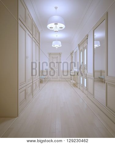 Hallway provence style. Light wooden parquet large wardrobe. White walls with molding. Cream color interior. 3D render